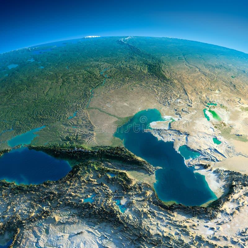 Gedetailleerde Aarde. De Kaukasus royalty-vrije illustratie