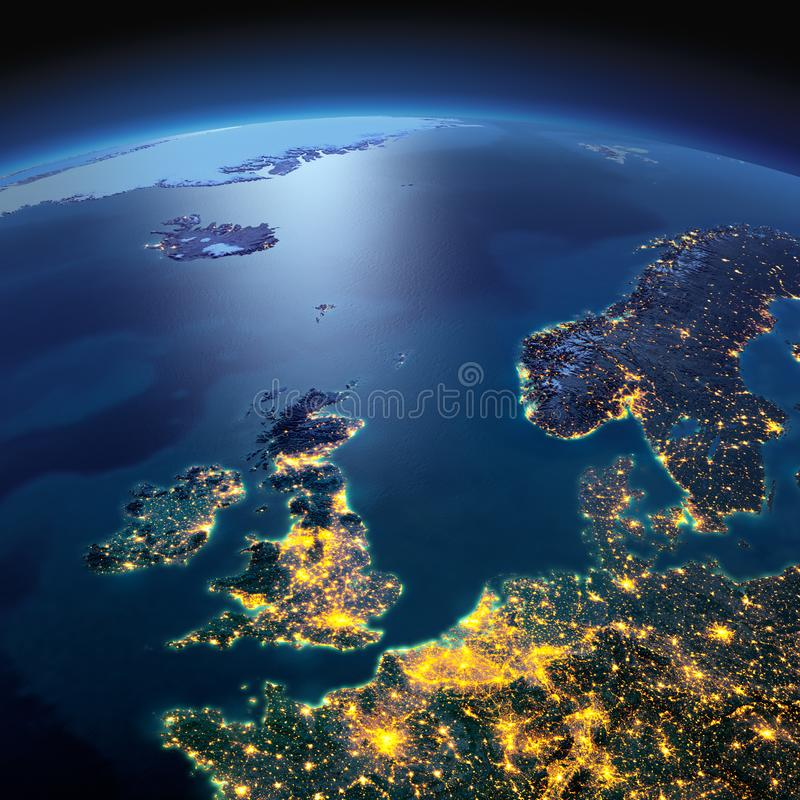 Gedetailleerde Aarde Het Verenigd Koninkrijk en de Noordzee op een maanbeschenen nacht royalty-vrije stock afbeeldingen