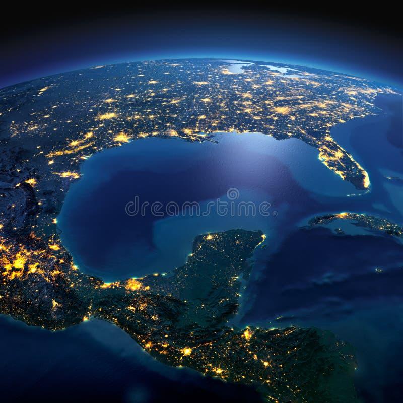 Gedetailleerde Aarde Kaarten van de beeldspraak van NASA Golf van Mexico op een maanbeschenen nacht royalty-vrije stock foto