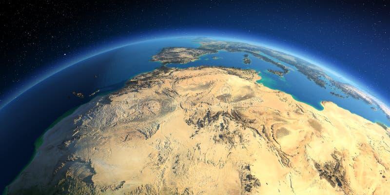 Gedetailleerde Aarde Noord- Afrika Algerije, Marokko en Tunesië royalty-vrije illustratie