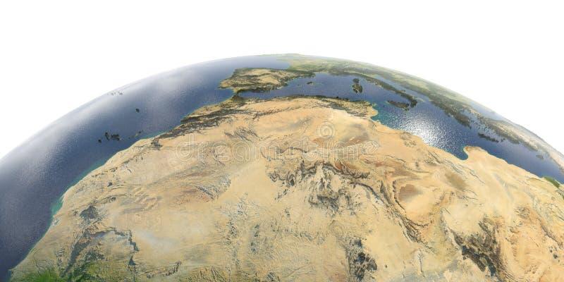 Gedetailleerde Aarde op witte achtergrond Noord- Afrika Algerije, Marokko en Tunesië stock illustratie