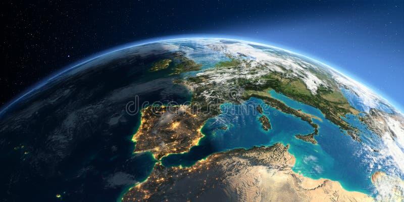 Gedetailleerde Aarde Spanje en de Middellandse Zee stock illustratie