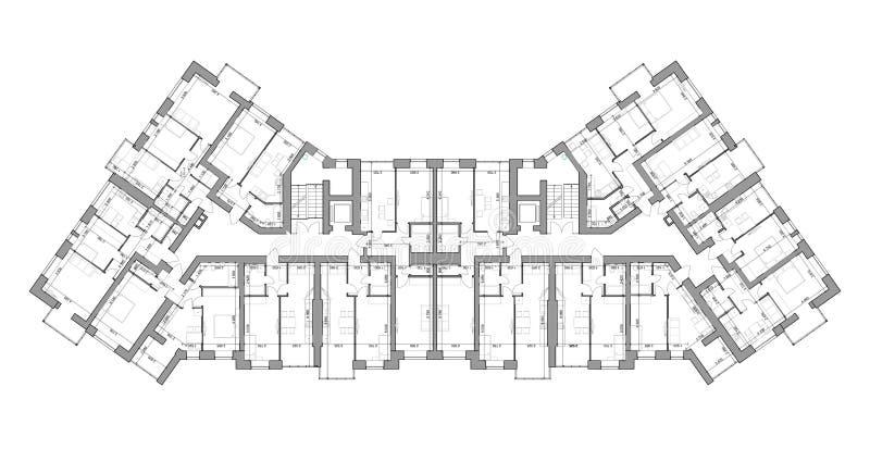 Gedetailleerde architecturale plattegrond, flatlay-out, blauwdruk Vector stock illustratie