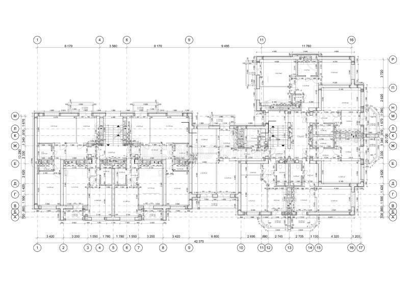 Gedetailleerde architecturale plattegrond, flatlay-out, blauwdruk Vector royalty-vrije illustratie