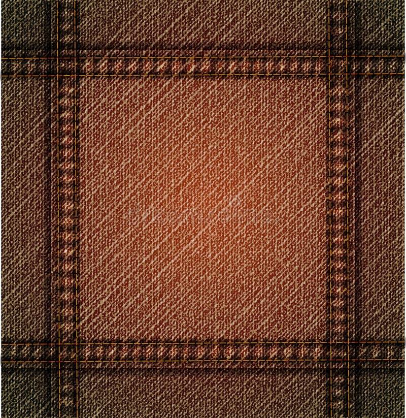 Gedetailleerde bruine jeanstextuur. Vector stock illustratie