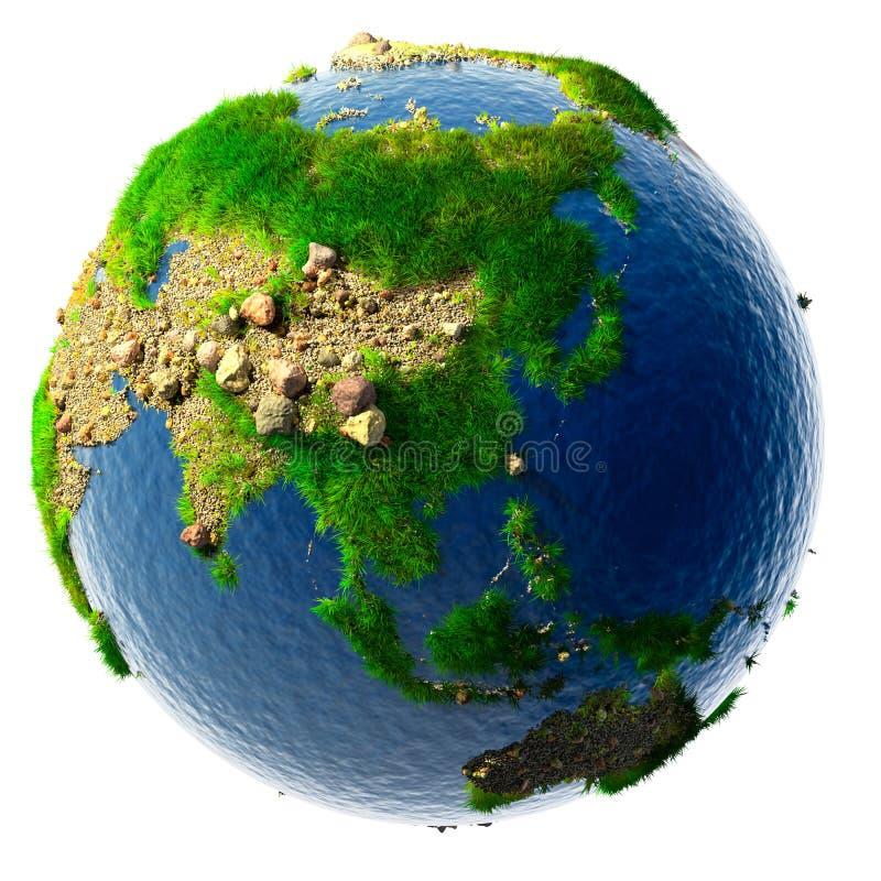 Gedetailleerde conceptenaard van de Aarde in miniatuur stock illustratie