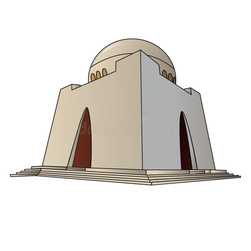 Gedetailleerde die vector/illustratie van mazar-e-Quaid in Pakistan Van karachi wordt gesitueerd vector illustratie