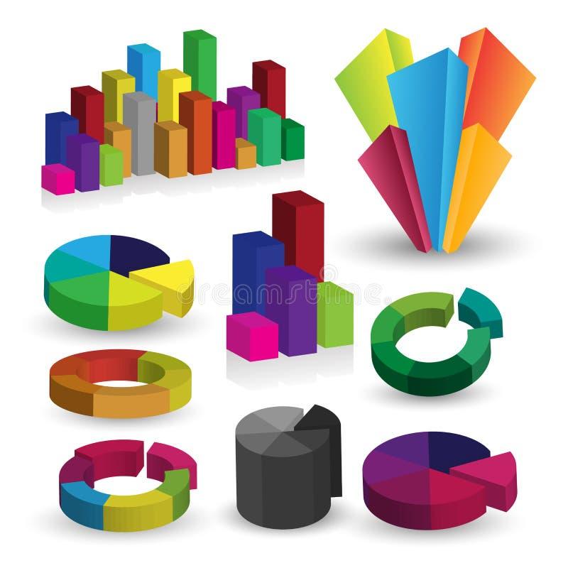 Gedetailleerde elementen van informatie-grafiek met grafieken vector illustratie