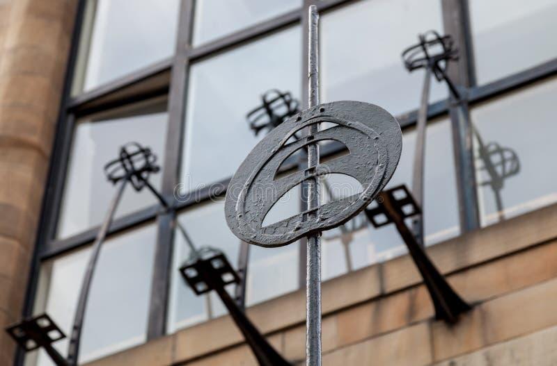 Gedetailleerde foto van de decoratieve staalfabriek op de buitenkant van Glasgow School van de Kunstbouw, Glasgow het UK royalty-vrije stock fotografie