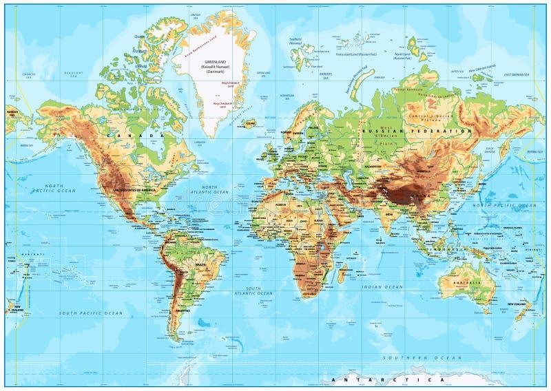 Gedetailleerde Fysieke Wereldkaart stock afbeelding