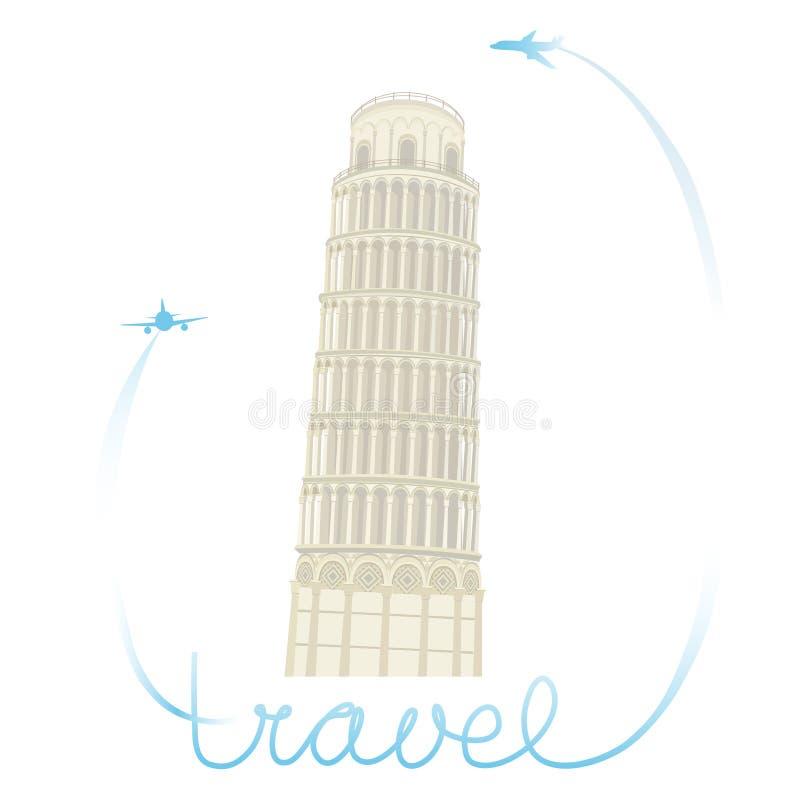 Gedetailleerde gekleurde illustratie van de Leunende Toren van Pisa Vector stock illustratie