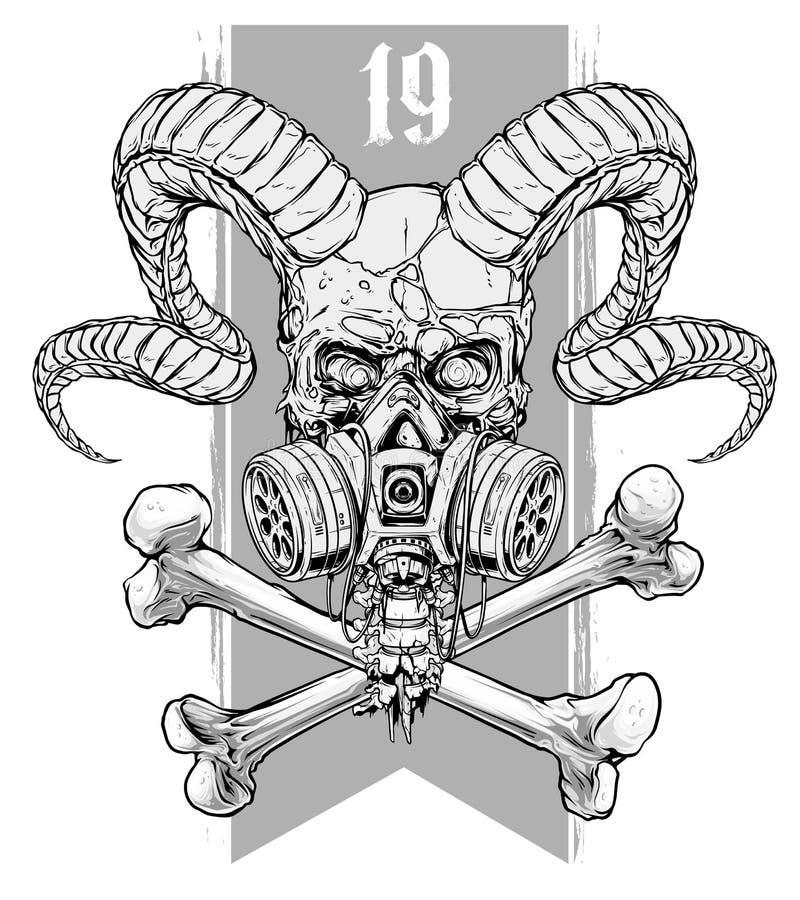 Gedetailleerde grafische menselijke schedel met gasmasker vector illustratie