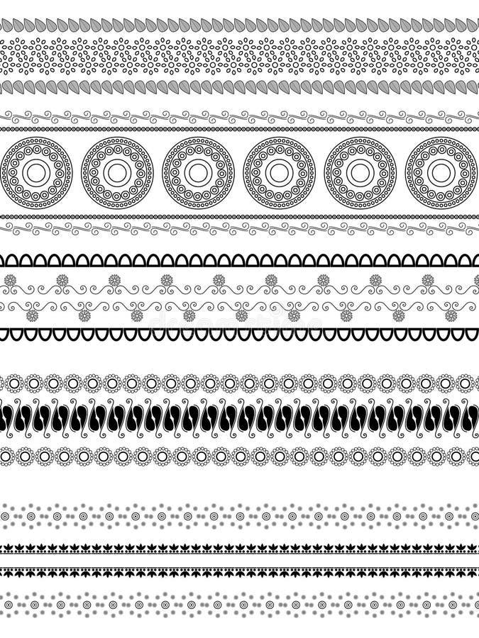 Gedetailleerde hennagrenzen vector illustratie