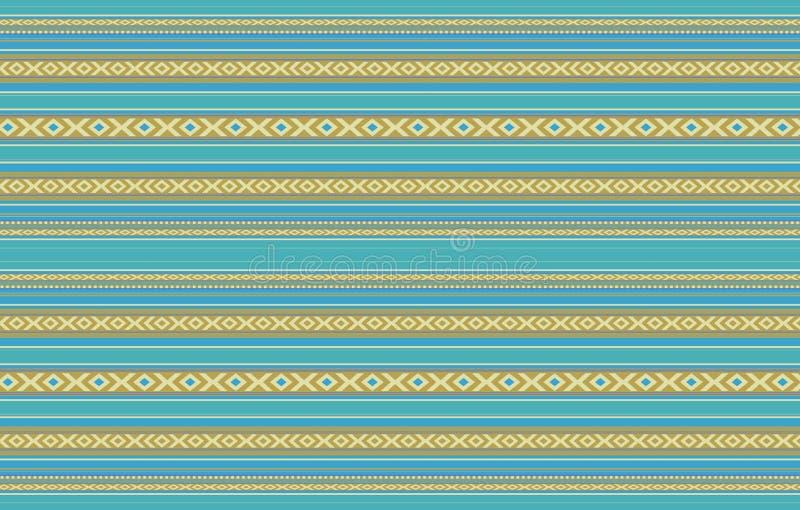 Gedetailleerde Horizontale Traditionele Handcrafted Gouden en Turkoois S royalty-vrije illustratie