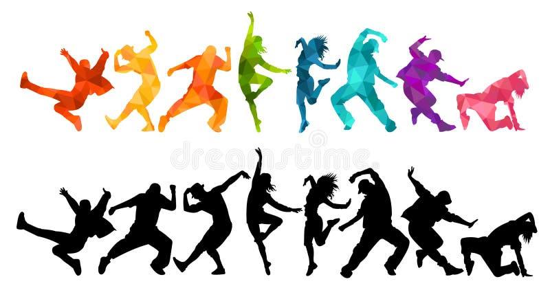 Gedetailleerde illustratiesilhouetten van het expressieve dansmensen dansen Jazzlafbek, hiphop, huisdans het van letters voorzien vector illustratie