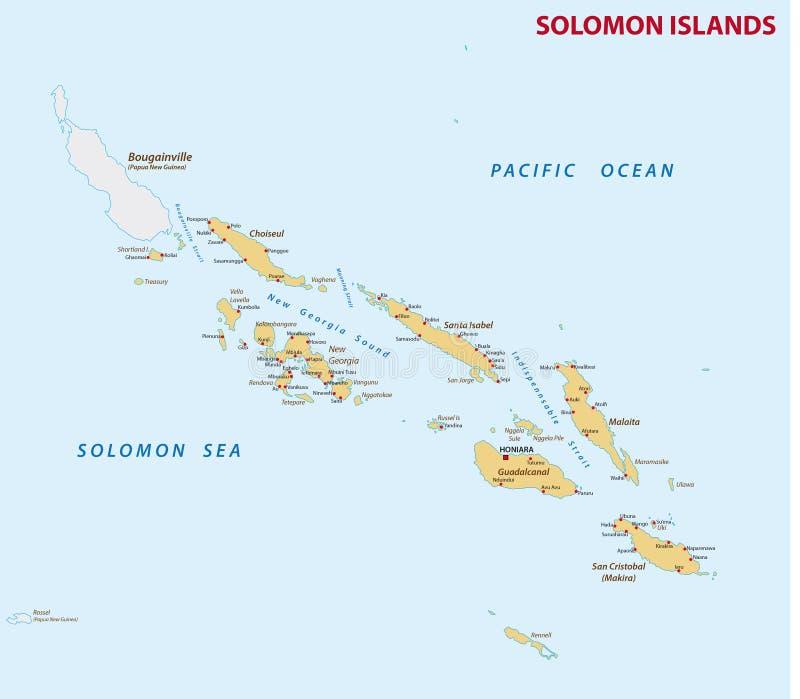 Gedetailleerde kaart van de vreedzame staat van Solomon Islands vector illustratie