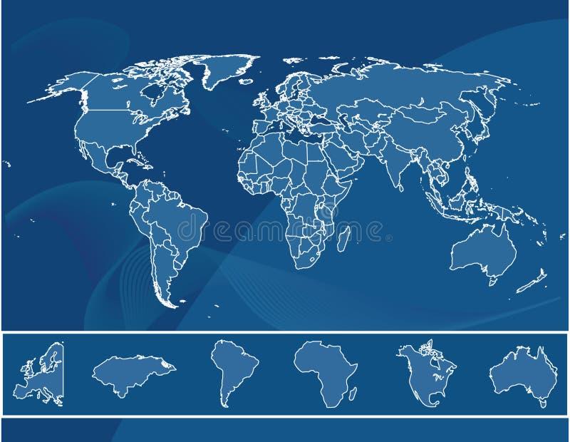Gedetailleerde kaart van de wereld royalty-vrije illustratie