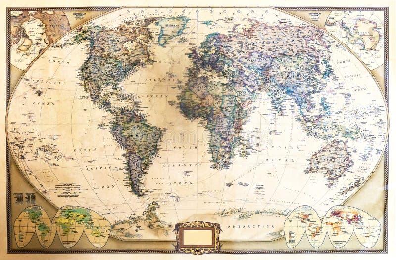 Gedetailleerde kaart van de wereld royalty-vrije stock afbeelding
