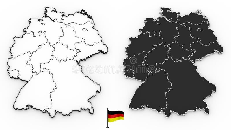 Gedetailleerde kaart van Duitsland met nationale gebieden stock illustratie