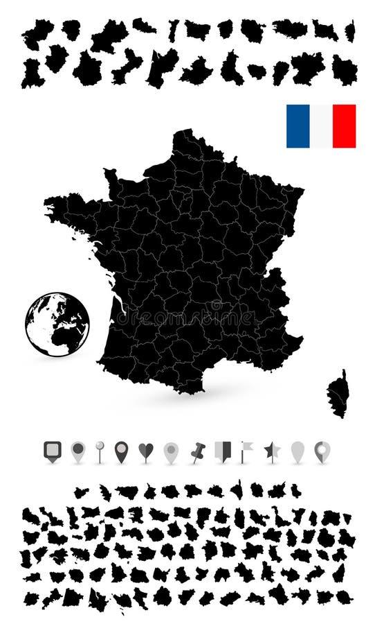 Gedetailleerde kaart van Frankrijk en vlakke navigatiereeks vector illustratie