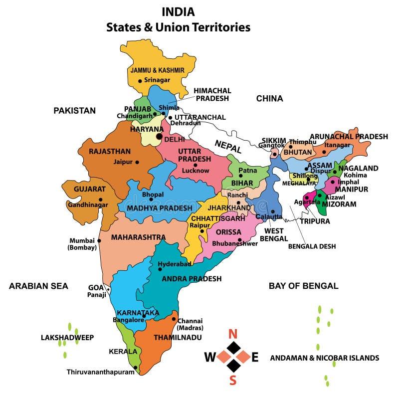Gedetailleerde Kaart van India stock illustratie