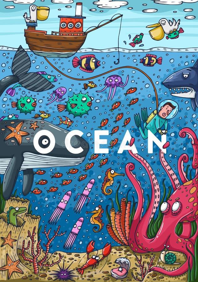 Gedetailleerde kleurrijke illustratie Onder water het overzeese leven royalty-vrije illustratie