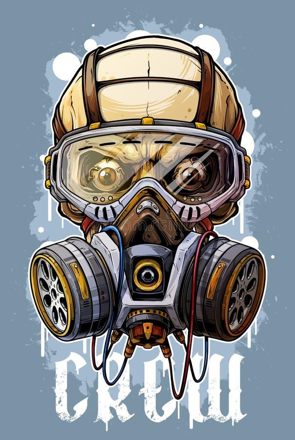 Gedetailleerde kleurrijke menselijke schedel met gasmasker stock illustratie