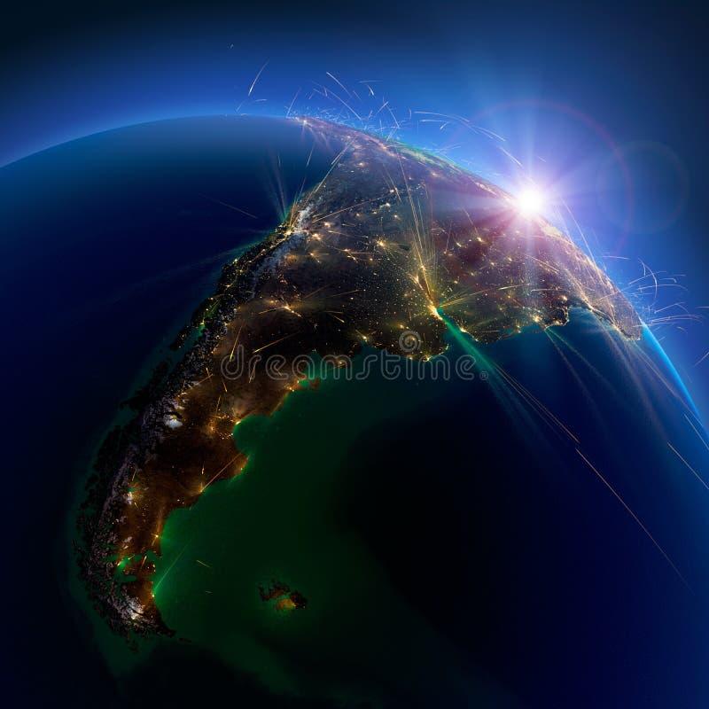 Gedetailleerde luchtroutes ter wereld Argentinië en Chili het 3d teruggeven royalty-vrije stock foto