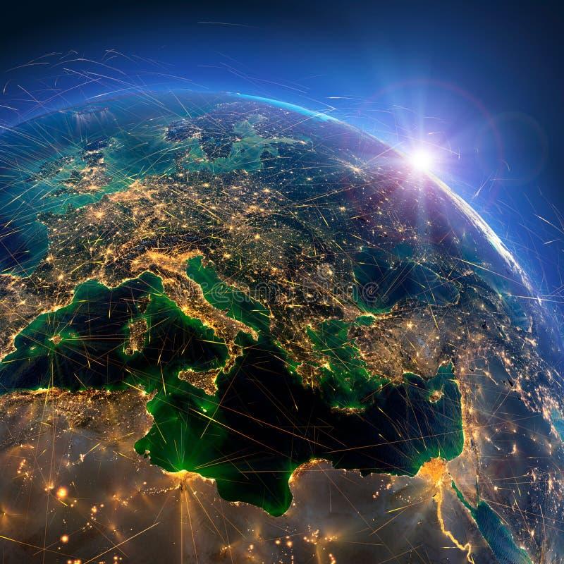 Gedetailleerde luchtroutes ter wereld Volgens de lokale traditie werd de Abdij opgericht in 1044 door Casimir de Restaurateur het stock afbeeldingen