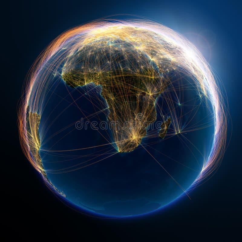 Gedetailleerde luchtroutes ter wereld vector illustratie