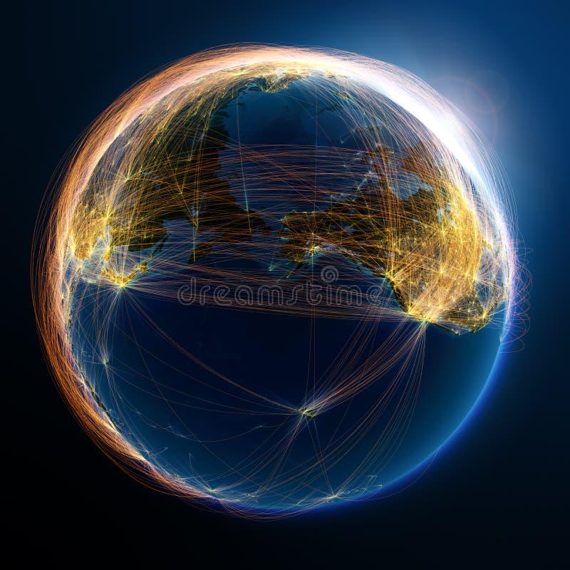 Gedetailleerde luchtroutes ter wereld stock illustratie