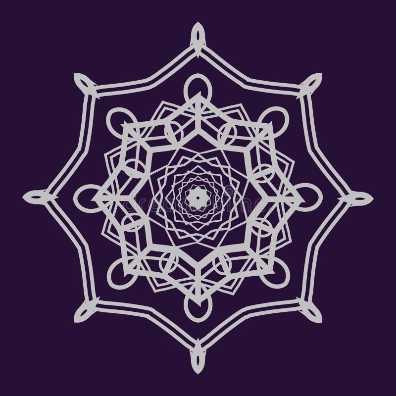Gedetailleerde mandala op donkerblauwe achtergrond vector illustratie