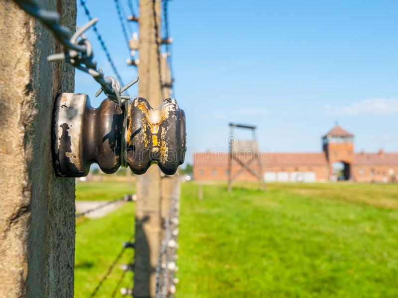 Gedetailleerde mening van de omheining van de weerhaakdraad in concentratiekamp Auschwitz - Birkenau, Oswiecim - Brzezinka, Polen royalty-vrije stock fotografie