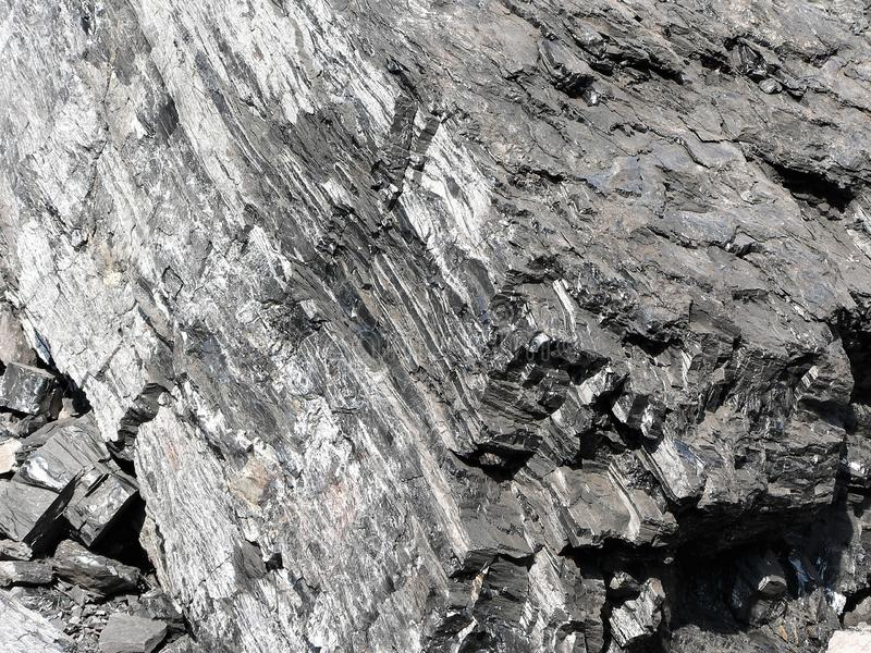 Gedetailleerde mening van natuurlijke zwarte steenkool royalty-vrije stock afbeelding