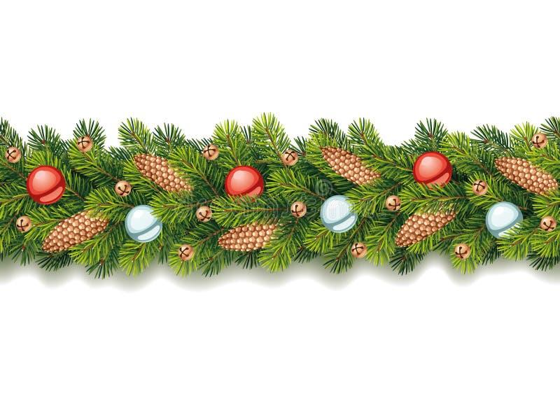 Gedetailleerde Naadloze Kerstmisslinger stock illustratie