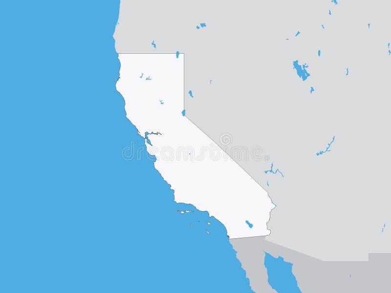 Gedetailleerde Politieke Kaart van de Staat van de V.S. van Californië vector illustratie