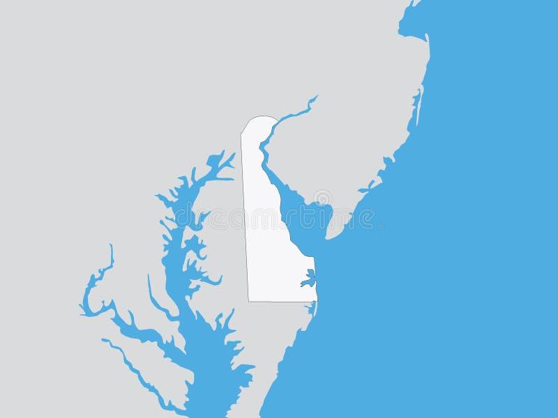 Gedetailleerde Politieke Kaart van de Staat van de V.S. van Delaware vector illustratie