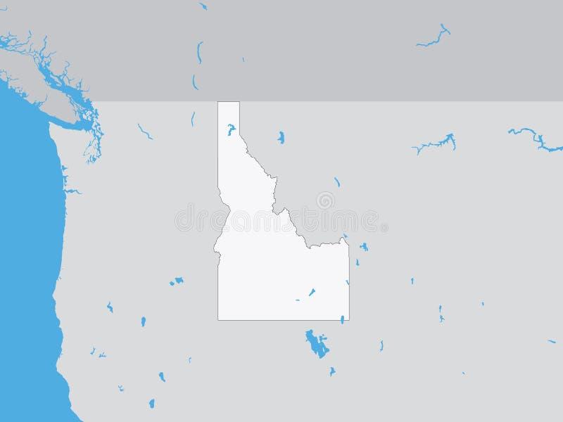Gedetailleerde Politieke Kaart van de Staat van de V.S. van Idaho vector illustratie