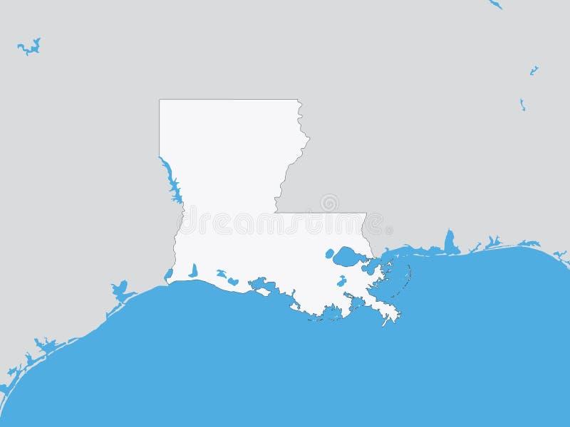 Gedetailleerde Politieke Kaart van de Staat van de V.S. van Louisiane vector illustratie