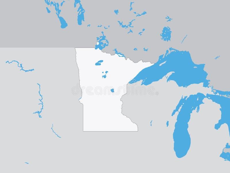 Gedetailleerde Politieke Kaart van de Staat van de V.S. van Minnesota royalty-vrije illustratie