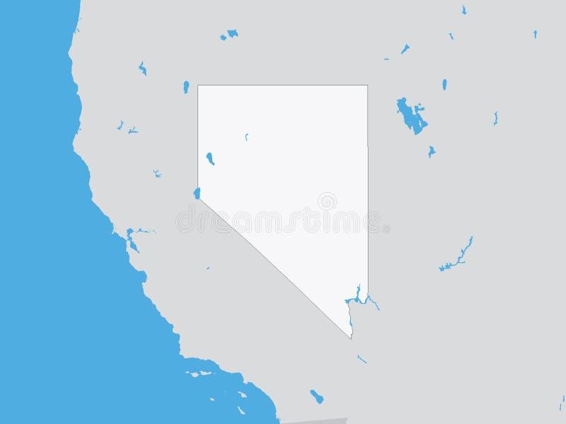 Gedetailleerde Politieke Kaart van de Staat van de V.S. van Nevada royalty-vrije illustratie