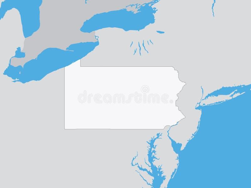 Gedetailleerde Politieke Kaart van de Staat van de V.S. van Pennsylvania royalty-vrije illustratie