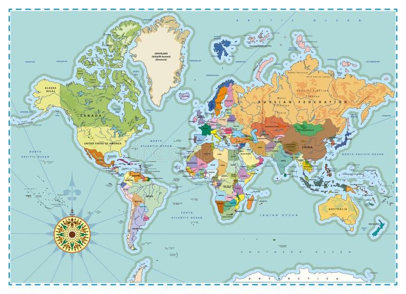 Gedetailleerde politieke wereldkaart royalty-vrije illustratie