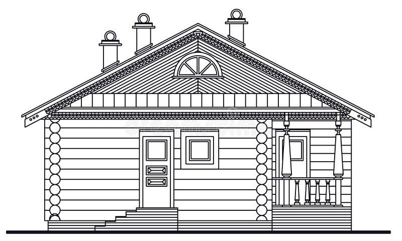Gedetailleerde tekening van houten saunavoorzijde vector illustratie