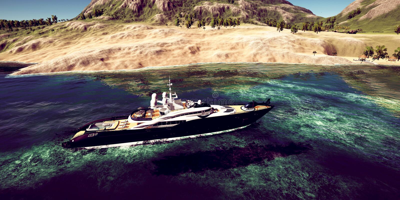 Gedetailleerde uiterst en realistc hoge resolutie 3D illustratie van een luxe Super Jacht bij een tropcial Eiland royalty-vrije illustratie