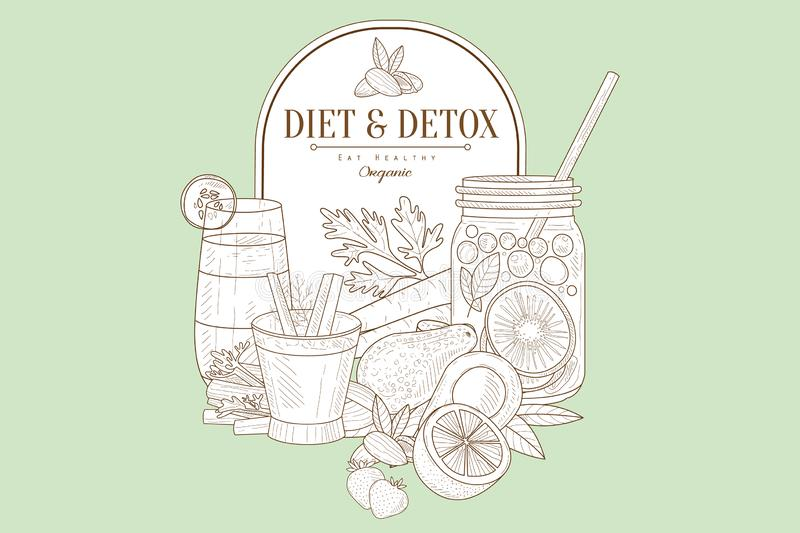 Gedetailleerde vectorschets met natuurlijke producten en drank Dieet en detox thema Het organische en gezonde eten stock illustratie
