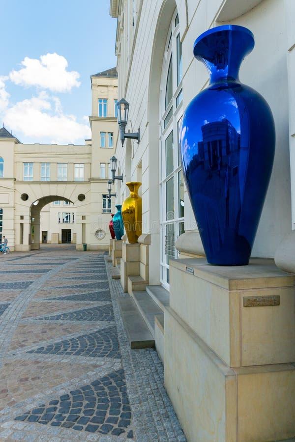 Gedetailleerde weergave van de gebouwen van het gerechtelijk centrum in de stad Luxemburg royalty-vrije stock afbeelding
