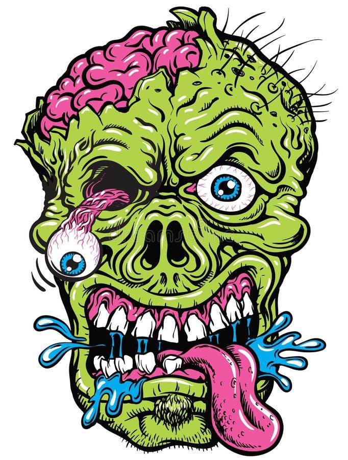 Gedetailleerde Zombie Hoofdillustratie stock illustratie