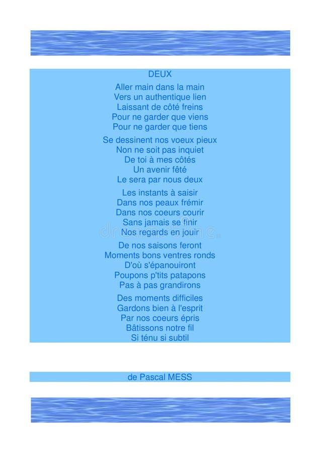 Gedicht von Liebe ` Deux-`, Thema AcquaSwim lizenzfreies stockbild