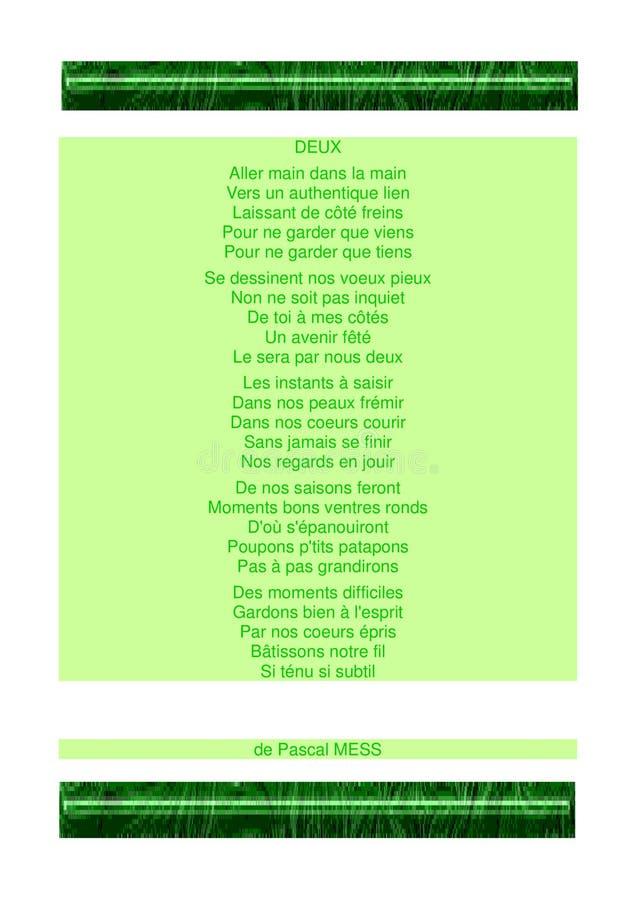 Gedicht von Liebe ` Deux-`, Thema Grün stockbild